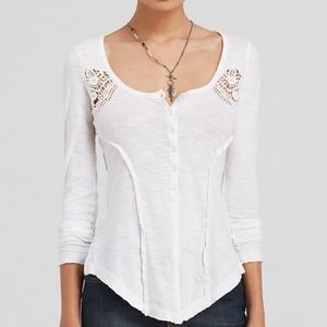 Free People | white crochet lace layering top